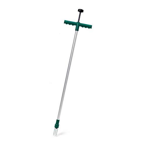 Relaxdays Unkrautstecher 100 cm, Aluminium Löwenzahnstecher m. Stahlkrallen u. Auswurf-Mechanismus, grün-grau