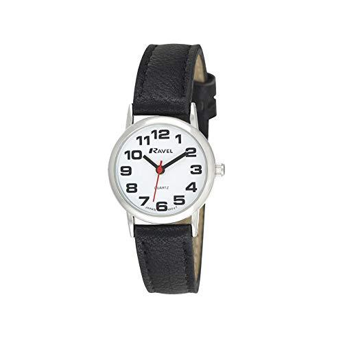 Ravel - Damen - Armbanduhr mit großen Ziffern - Schwarzes/silbernes Ton/weißes Zifferblatt