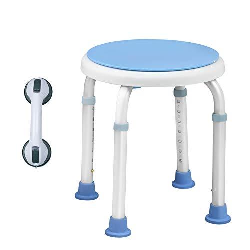 Aufun 360°Drehbarer Duschhocker Höhenverstellbar Anti-Rutsch Badhocker mit Duschhilfe Badewannen Haltegriff (Stuhl+Haltegriff)