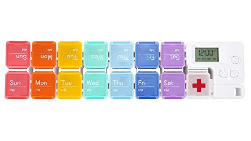 Mogokoyo Digital Tablettenbox 7 Tage Morgens Abends, Pillendose mit Wecker Alarmfunktion, Tragbar 14 Fächer Pillenbox Medikamentenbox mit Schutzhülle (Irisieren)
