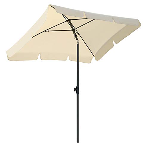 MVPower Sonnenschirm, 200 x 125 cm Marktschirm rechteckig knickbar, Gartenschirm UV-Schutz 50+, Regenfest Sonnenschirme, Terrassenschirm für Balkon, Garten und Terrass, 180 g/m², Beige