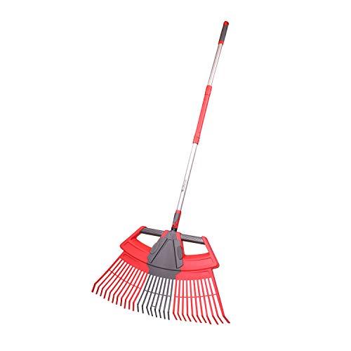 Alterra Tools 3-in-1 Laubbesen mit abnehmbarem, weichem Griff für Hinterhof, Gartenpflege, rot, grau