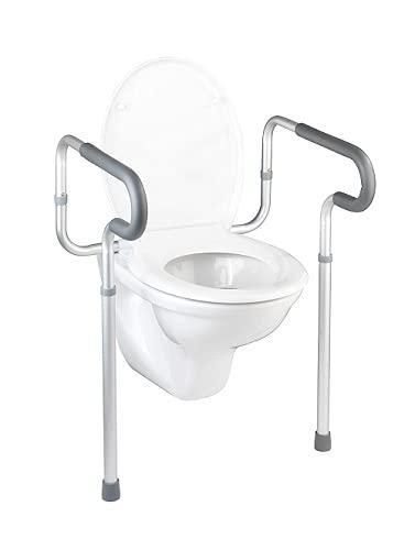 WENKO WC-Stützhilfe Secura, 5-fach höhenverstellbare Aufstehhilfe mit rutschfesten Gummifüßen, praktische Hilfe im Bad für notwendigen Halt, leichte Montage, 55,5 x 71-81,5 x 48cm, Aluminium rostfrei