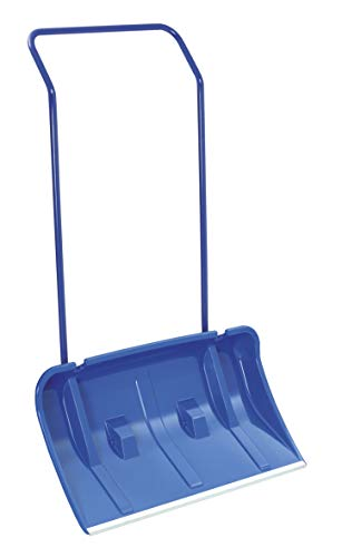 BigDean Schneeschieber mit Rädern/Rollen Schneewanne 80 cm Breit inkl. Streusalzschaufel und Ersatzräder Blau Alukante