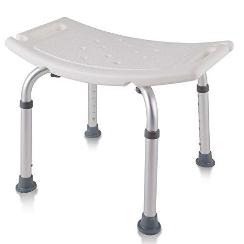 AUFUN Duschhocker Duschstuhl 38-53cm Höhenverstellbar Duschhocker Anti-Rutsch Badsitz Duschhilfe Duschsitz aus Alu und Kunststoff für Alter, Schwangere