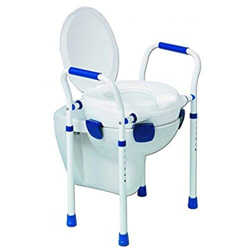 Toilettensitzerhöhung mit Deckel, verstellbare Füße und Armlehnen, Belastbarkeit bis 150kg*