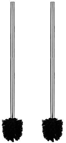 My-goodbuy24 XXL WC Bürste 2er Set mit extra Langen Stiel 60cm - Edelstahl - Bürstenkopf Bürstengarnitur ersatz Toilettenbürste Klobürste Bad Badezimmer schwarz