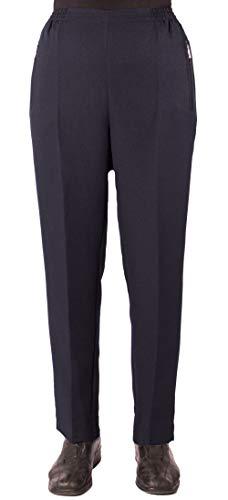 FASHION YOU WANT Damen Seniorenhose Schlupfhose mit Gummibund Kurzgröße ideal für pflegebedürftige Omas einfach anzuziehen (42/44, dunkelblau Uni)
