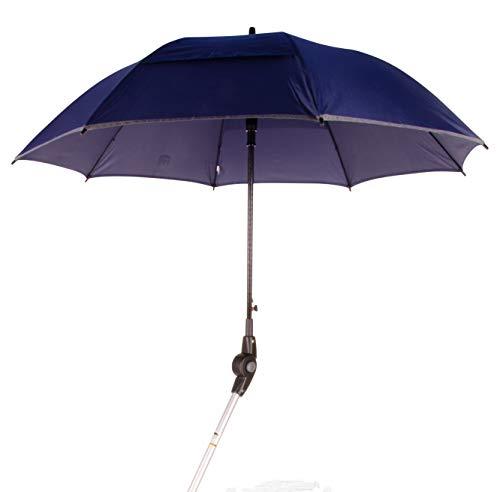 MPB® Rollatorschirm 99 BR (PASSEND FÜR 99% ALLER ROLLATOREN!), Regenschirm und Sonnenschirm, blau-reflektierend, mit 2 Verstellgelenken, Mikrofaser-Schirm mit'Air-Vent System', inkl. Schirmhülle