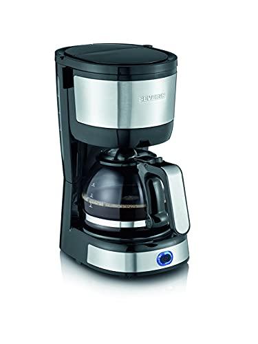 SEVERIN Kompakt Kaffeemaschine, aromatischer Kaffee mit dem Kaffeebereiter für bis zu 4 Tassen, Filterkaffeemaschine mit Permanent-Schwenkfilter, Edelstahl/schwarz, KA 4808