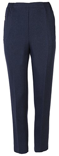 FASHION YOU WANT Damen Seniorenhose Schlupfhose mit Gummizug Kurzgröße ideal für pflegebedürftige Omas einfach anzuziehen und super pflegeleicht (46/48, blau meliert)