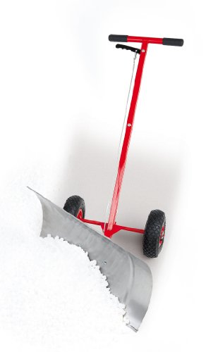 Schneeschieber Schneefuchs LxHxB: 119x73x40cm mit Rädern, Schneeschaufel HxB: 73x38cm aus Edelstahl, Marke: Szagato (Schneeschaufel Schneeschieber Hand-Schneepflug) (Made in Germany)