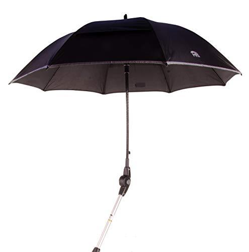 MPB® Rollatorschirm 99 SR (PASSEND FÜR 99% ALLER ROLLATOREN!), Regenschirm und Sonnenschirm, schwarz-reflektierend, mit 2 Verstellgelenken, Mikrofaser-Schirm mit'Air-Vent System', inkl. Schirmhülle