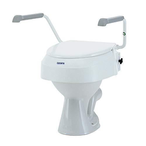 Toilettensitzerhöhung mit Armlehnen – Invacare Aquatec 900 Toilettensitzerhöhung – Erhöhte Toilettensitze für ältere Menschen – weiß – erhöht den Sitz um 100 mm*