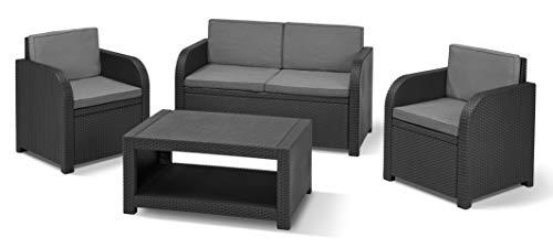 'Allibert by Keter' Modena Gartenmöbel Set aus Kunststoff, inkl. Sitzkissen, grau, 4-teilig, 2 Sessel, Sofa & Tisch, für Garten, Balkon & Terrasse, flache Rattanoptik