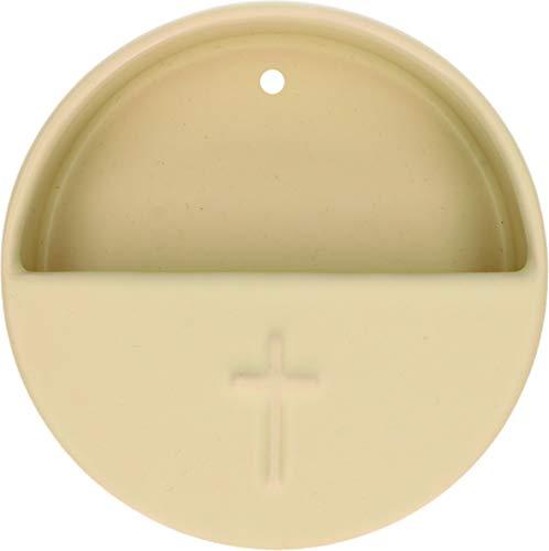 Butzon und Bercker Weihwasserkessel Kreuz cremefarben Keramik Ø 10 cm Weihbecken für Zuhause