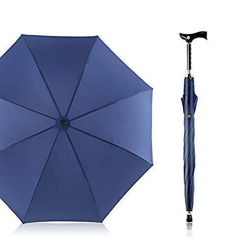 Automatik Regenschirm Gehstock, Classic Canes Regenschirm von 105cm Durchmesser Höhenverstellbar Spazierstock für Senioren,Blau