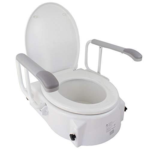 Mobiclinic, Modell Muralla, Toilettensitzerhöhung mit Armlehnen und Deckel, erhöhter Toilettensitz für Senioren, Toilettenhilfen, höhenverstellbar in 3 Positionen (5, 10 und 15 cm)