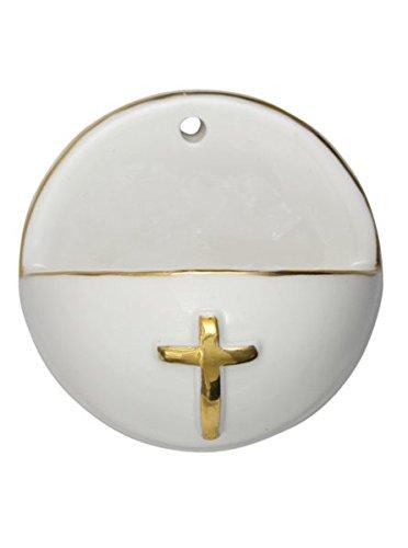 Porzellan - Weihkessel Weihwasserkessel mit Goldrand Kreuz 6 cm