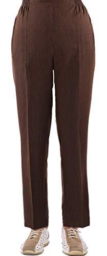 FASHION YOU WANT Damen Seniorenhose Schlupfhose mit Gummizug Kurzgröße ideal für pflegebedürftige Omas einfach anzuziehen und super pflegeleicht (50/52, braun meliert)