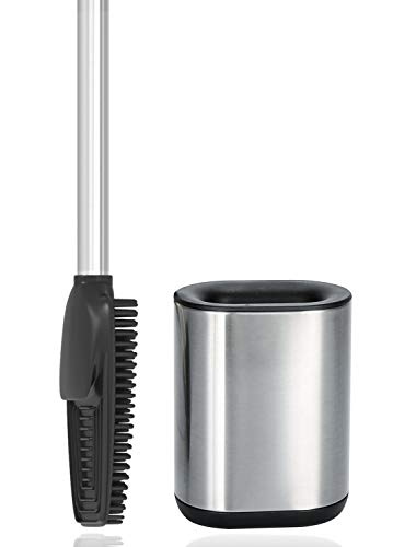 arteneur® - 3in1 Toilettenbürste aus Silikon mit WC Bürsten Halter, Langer Stiel aus Edelstahl & Hygienisch mit Lamellen und Schaber – Toilettenbürstengarnitur für Badezimmer & Gäste-WC (Edelstahl)