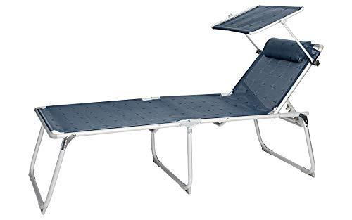BERGER Aluminium Sonnenliege XL mit Dach 5-Fach verstellbar Campingliege Sonnenliege Liege*