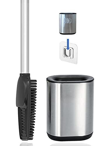 3in1 Toilettenbürste aus Silikon mit WC Bürsten Halter und Wandhalterung, Langer Stiel aus Edelstahl & Hygienisch mit Lamellen und Schaber – Toilettenbürstengarnitur für Badezimmer & Gäste-WC