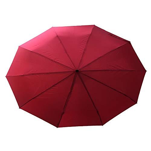 Automatisches Öffnen Und Schließen Dreifachschirm Sonnenschirm Senior Business-Regenschirm Super Winddicht 10 Knochen Automatische Rot 115Cm