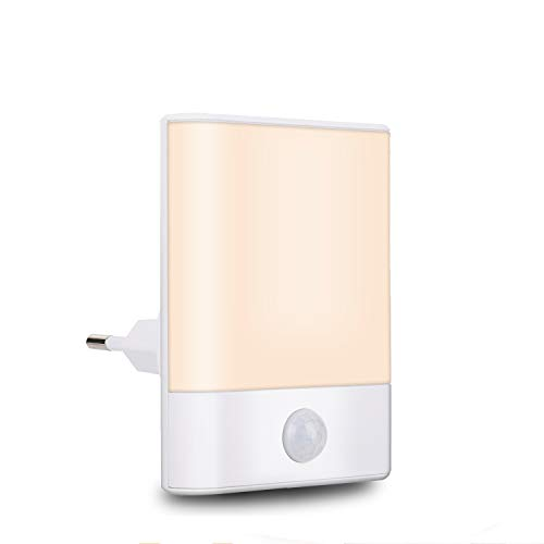 Brisun Nachtlicht Steckdose mit Bewegungsmelder, 3 Modi (Auto/ON/OFF), Energiesparendes Warmweiß für Kinderzimmer, Flur, Schlafzimmer, Badezimmer, Küche, Treppen, Wohnzimmer