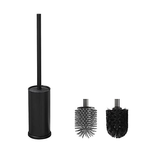 BVL Schwarz Toilettenbürste Klobürste Silikon mit 1 Extra Bürstenkopf, Rostfreie WC-Bürsten und Halter aus Metall