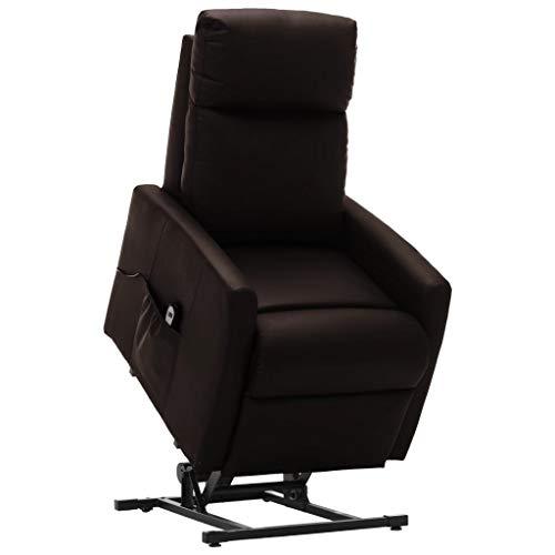 vidaXL Fernsehsessel Elektrisch Aufstehsessel mit Aufstehhilfe Relaxsessel TV Sessel Ruhesessel Liegesessel Polstersessel Braun Kunstleder