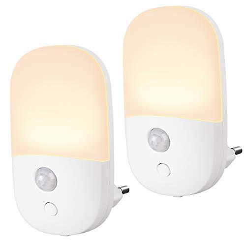 Emotionlite Nachtlicht Steckdose mit Bewegungsmelder,Helligkeit Einstellbar,3 Modi (Auto/ON/OFF) Steckdosenlicht für Kinderzimmer,Treppenaufgang,Schlafzimmer,Orientierungslicht,WarmWeiß,2 Stück