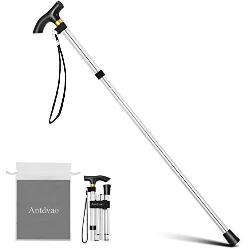 Antdvao Faltbarer Gehstock für Senioren, tragbar, Teleskopstange für Senioren, und Safe, zusammenklappbar, für Damen, geeignet für Personen mit reduzierter Mobilität(Silber)
