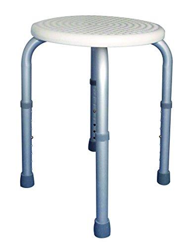 Dusch + Bad Haltegriff Duschhocker Badhocker rund Tiga-Plus Anti Rutsch 8fach höhenverstellbar 34cm bis 52cm 1 Stück