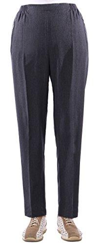 Eitex Damen Seniorenhose Schlupfhose mit Gummizug Kurzgröße ideal für pflegebedürftige Omas einfach anzuziehen und super pflegeleicht (42/44, dunkelgrau meliert)