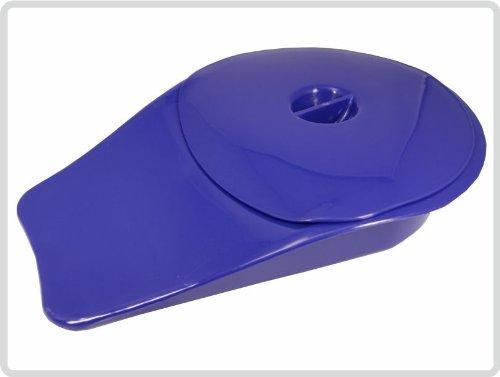 Stechbecken aus Kunststoff mit Deckel oval angeschrägt, Farbe: blau - Bettpfanne Steckbecken Schieber