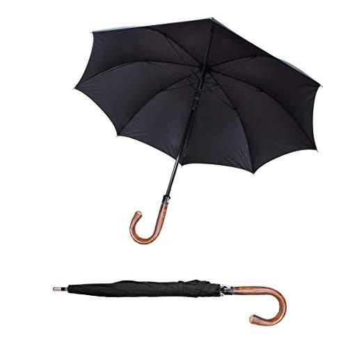 Sicherheitsschirm mit Videoanleitung | Großer XXL Selbstschutz Regenschirm | Stockschirm 103cm Lang | Regenschutz, Gehhilfe & Selbstverteidigung | sturmfest | Security Golfschirm