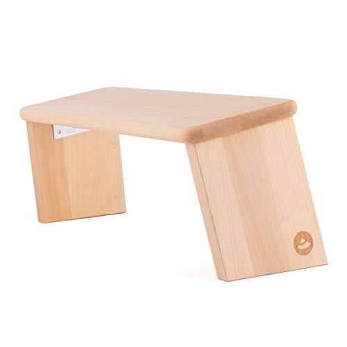 Bodhi Meditationsbank aus Holz (Buche)   Yoga Hocker aus Holz   Kniesitz Medibank für eine Tiefe Meditation   Variation: Lhasa Klappbar – Buche geölt