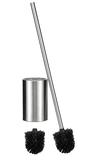Bambelaa! Lange Klobürste Wc-Bürste WC-Garnitur WC-Bürstenhalter Edelstahl Glas Silber Schwarz (ca. 67 cm)