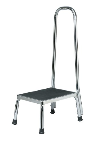 Homecraft Step Stool with Handle, (Eligible for VAT relief in the UK) Chrome Plated Sturdy Steel Stool for Elderly, Disabled, & Children, Non-Slip Safety Step for Bathroom, Kitchen, Slippery Floors*