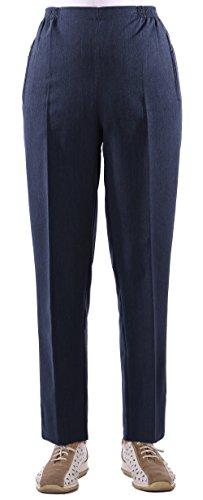 Seniorenmode24 Damen Viskose Seniorenhose Schlupfhose Größe 36/38 bis 54/56 mit viel Elasthan und Gummizug in Kurzgröße ideal für Leute die im Rollstuhl sitzen und für kräftige Beine (blau, 44/46)