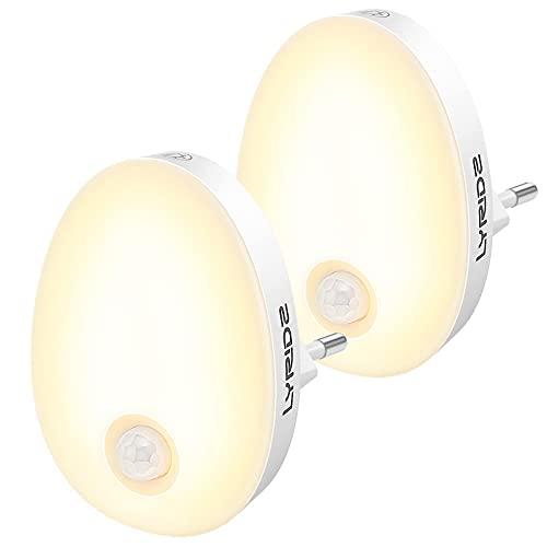 LYRIDZ Nachtlicht Steckdose mit Bewegungsmelder, strahlend hell 1-120LM Plug-in Nachtlicht dimmbar, Smart Warmweißes LED-Licht mit stufenlos einstellbarer Helligkeit für Schlafzimmer Küche 2 Stück