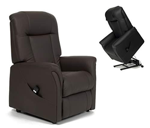 FabaCare Aufstehsessel Ontario 2, elektrischer Fernsehsessel, 2 Motoren, Relaxsessel bis 150 kg, Skai (Kunstleder) Braun