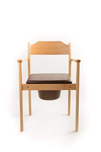Hygienischer Toilettenstuhl, Nachtstuhl, Premium Design, hochwertiges Holz, gepolstertere Sitzfläche, herausnehmbarer Eimer mit Deckel, zertifizierte Toilettenhilfe (hellbraun)