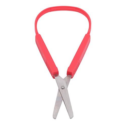 zwyjd Schlaufenschere Easy Grip Scissors Schlaufengriff Selbstöffnende Schere Adaptives Design Kinderschleifenschere für Kinder und Jugendliche,rot