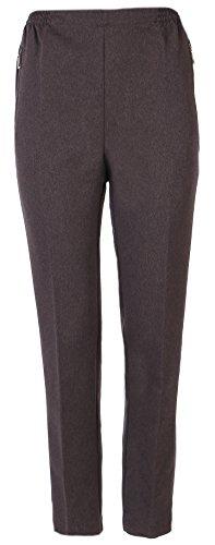 Eitex Seniorenmode24 Damen Seniorenhose Schlupfhose mit Gummizug Kurzgröße ideal für pflegebedürftige Omas einfach anzuziehen und super pflegeleicht (46/48, schamm meliert)