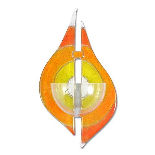 kruzifix24 Devotionalien Weihkessel Glas Modern Orange Gelb weiß Sonne 16 x 10 cm Unikat Weihwasserkessel Weihwasserbecken aufgenhende Sonne