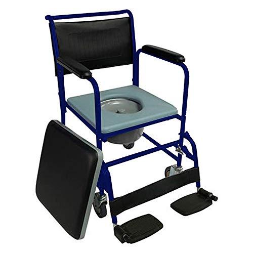 Mobiclinic, Toilettenstuhl mit Rollen, Barco, Europäische Marke, Toilettensitz für Ältere und Behinderte, WC Sitz, Klappbare Armlehnen, Abnehmbare Fußstützen, Mit Deckel, Feststellbremse, Blau