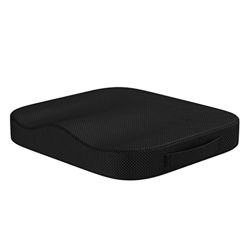 bonmedico Sitzkissen Stuhl-Sitzpolster für Erwachsene - Ergonomisches Kissen für Bürostuhl und Auto aus Memory Foam für mehr Sitzkomfort – Schwarz