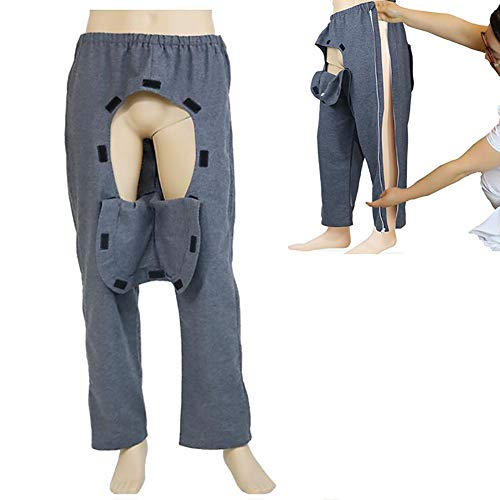 D&F Patientenpflege-Hose,mit seitlichem Reißverschluss Hose mit offenem Schritt Inkontinenz-Hosen zum Behinderung Bettlägerig Fraktur,XXL